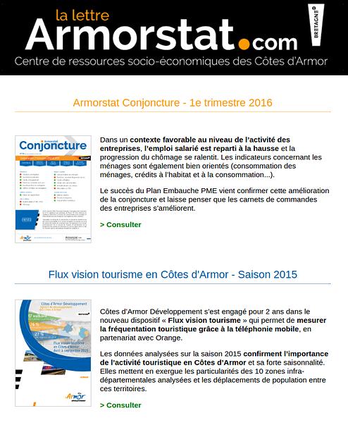 Armorstat - Données économiques et touristiques - Juin 2016